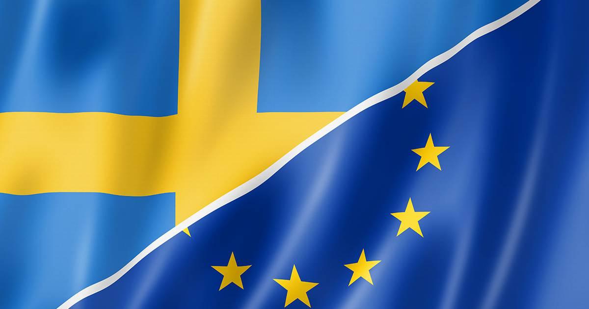 Mixed Swedish and european Union flag, three dimensional render, illustration